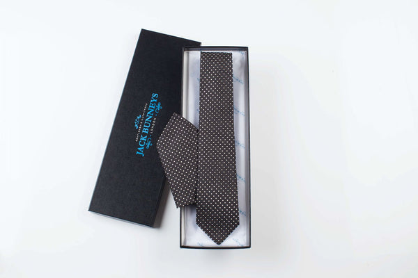 Pure Silk Polka Dot Black Tie - Pure Silk Polka Dot Neckwear