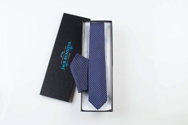 Pure Silk Polka Dot Navy Tie - Pure Silk Polka Dot Neckwear