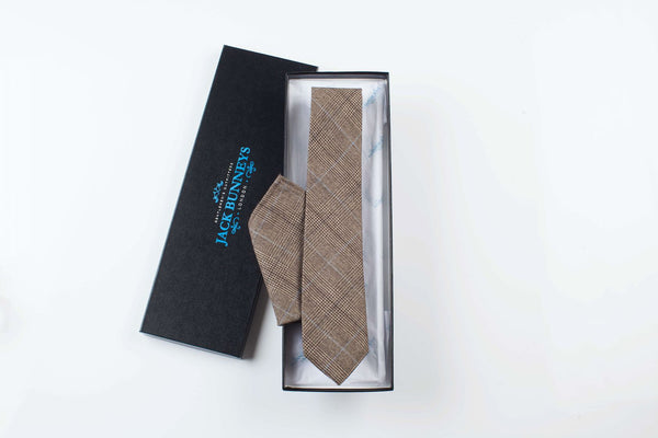 Prince of Wales Brown & Blue Check Tie - Prince of Wales Flannel Wool Neckwear