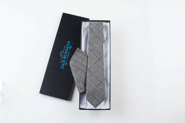 Prince of Wales Blue Check Tie - Prince of Wales Flannel Wool Neckwear