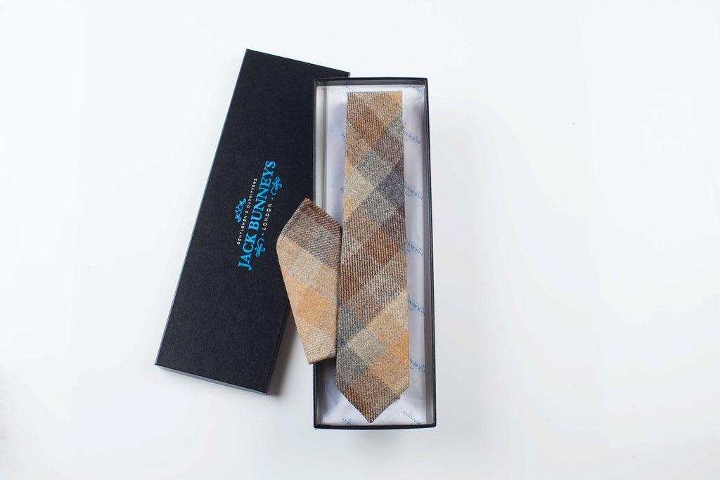 Brown Sherry Tweed Tie - Handwoven Holland And Sherry Tweed Neckwear