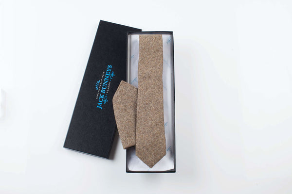 Fawn Donegal Tweed Tie - Fine Lambswool from Abraham Moon Mill