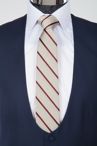 Silk and Cotton Striped Wedding Tie - Buff and Burgundy