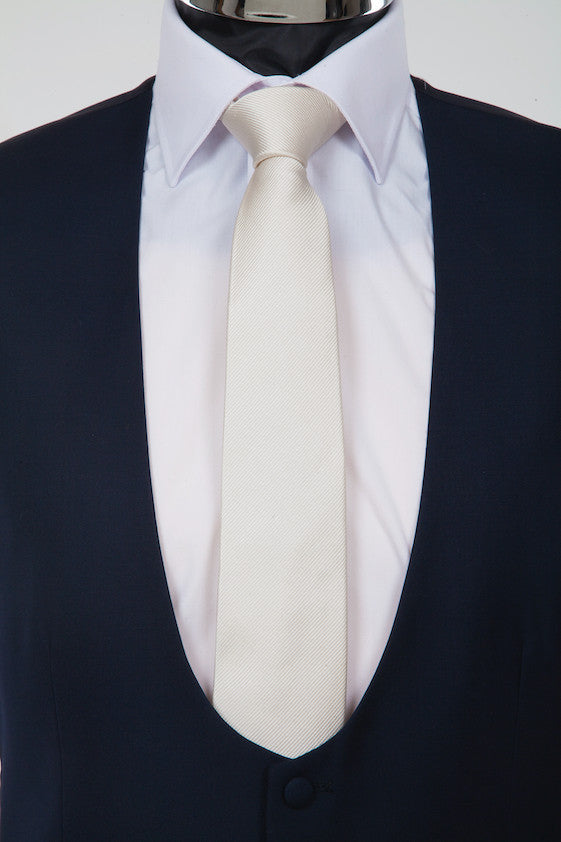 Pure Silk Wedding Tie - Handwoven Twill Weave Silk - Ivory