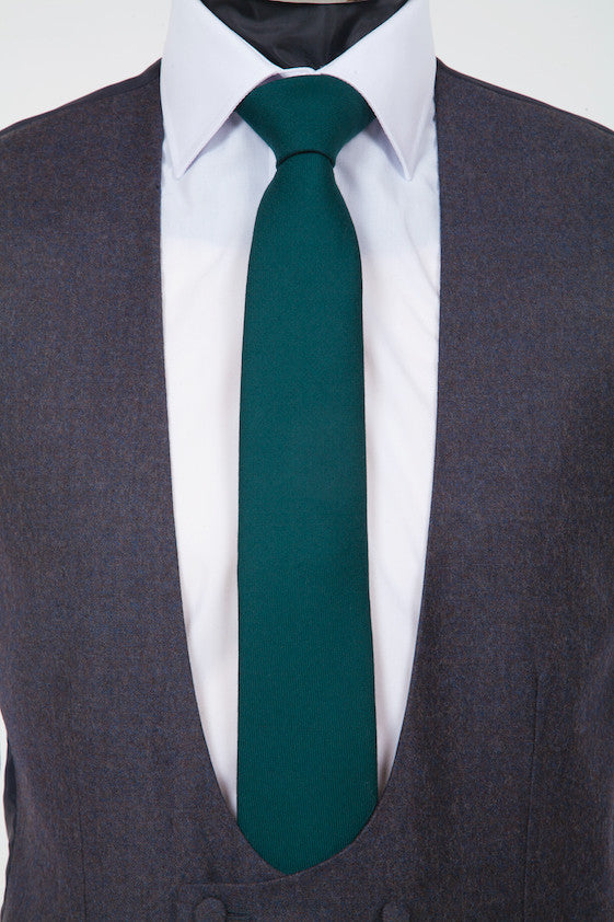 Wool Green Tie - Green Pure Wool Neckwear