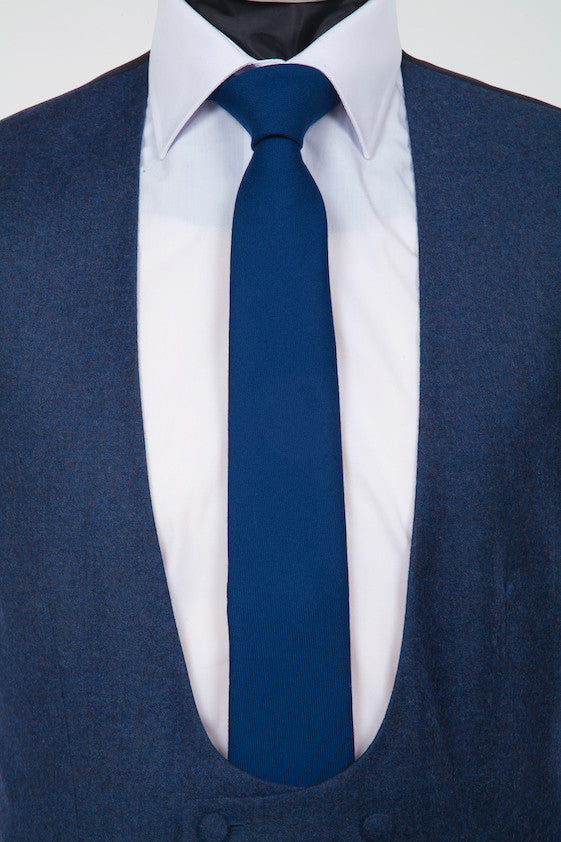 Wool Mid Blue Tie - Navy Pure Wool Neckwear