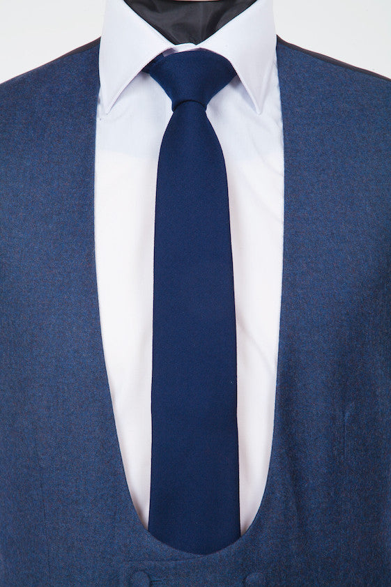 Wool Navy Tie - Navy Pure Wool Neckwear