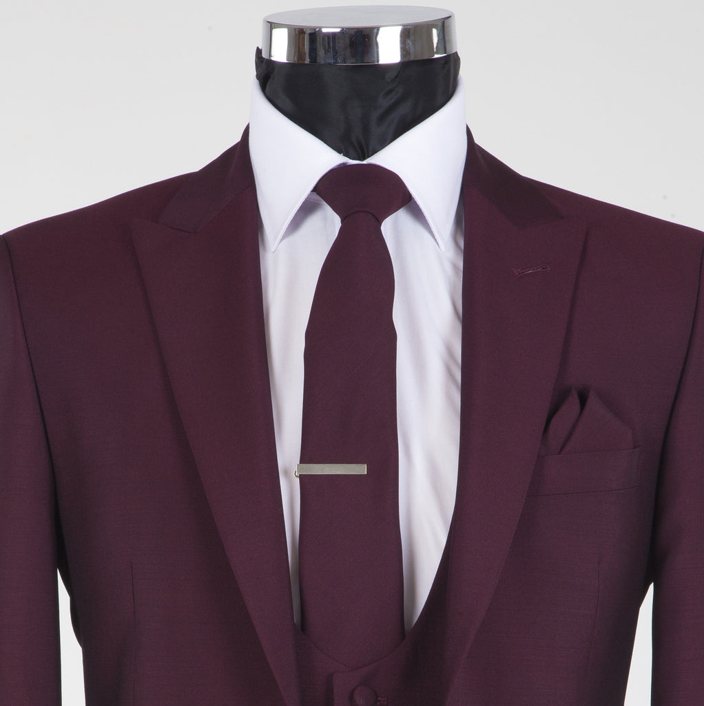 Burgundy York Tie - Burgundy Mohair and Wool Neckwear