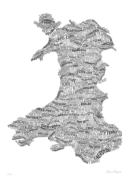 A Welsh Map of Wales (Slate Grey)