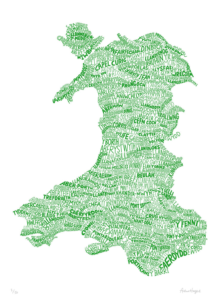 A Welsh Map of Wales (Hillside Green)