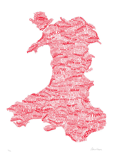 A Welsh Map of Wales (Dragon Red)