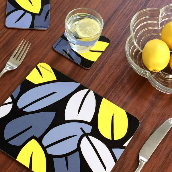 Placemat in Grey and Yellow Eucalyptus Leaf pattern