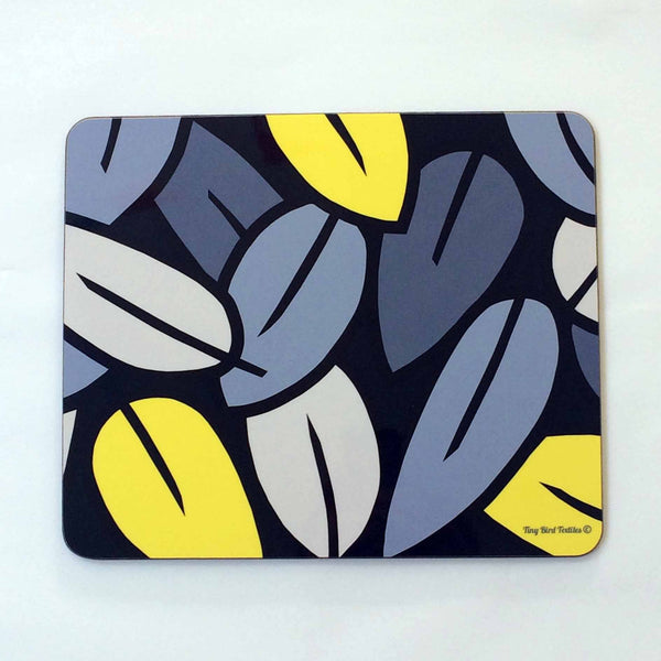 Placemat in grey and yellow Eucalyptus Leaf design, on white background