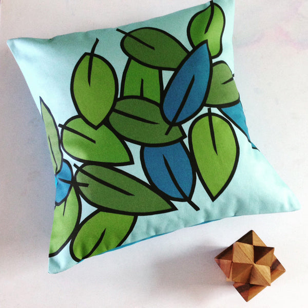 Eucalyptus Leaf design cushion in Light Sky Blue, Mid Blue and Spring Green