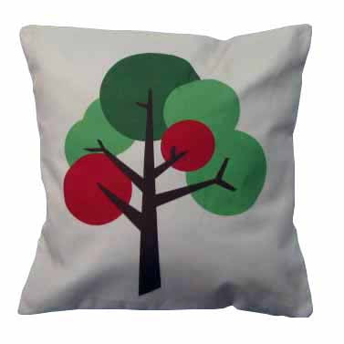 Oak Tree design cushion in Oatmeal cream textured fabric with accent colour yellow orange grey red