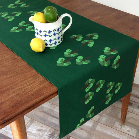 Green table runner in Oak Tree repeat pattern