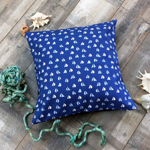 Navy Blue cushion with Sky Blue and White yacht sail pattern