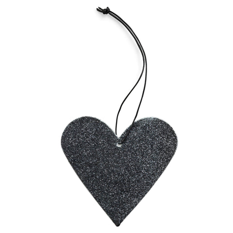 sort glimmer hjerte - black heart glitter ornament nordstjerne