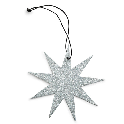 9 point silver star glitter ornament nordstjerne