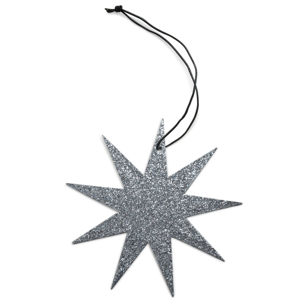 9 point grey star glitter ornament nordstjerne