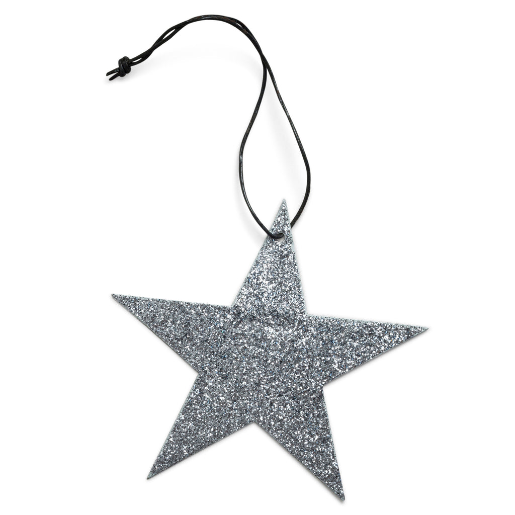 5 point grey star glitter ornament nordstjerne