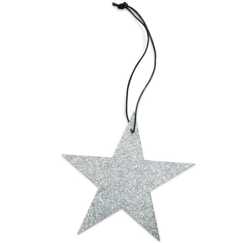 5 point silver star glitter ornament nordstjerne