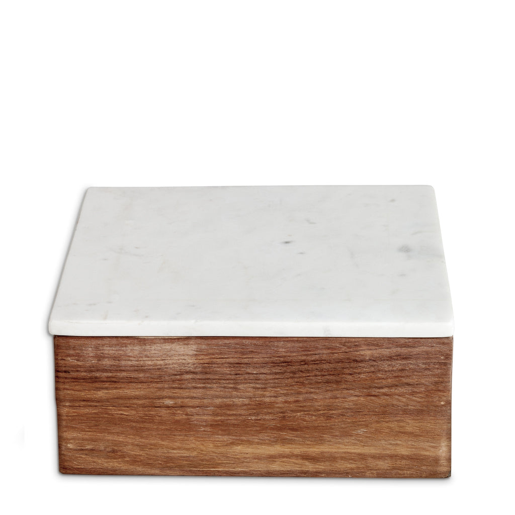 marblelous wooden box large, white