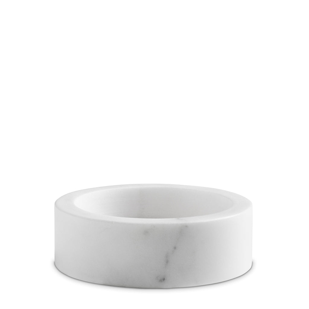 white marble candle holders