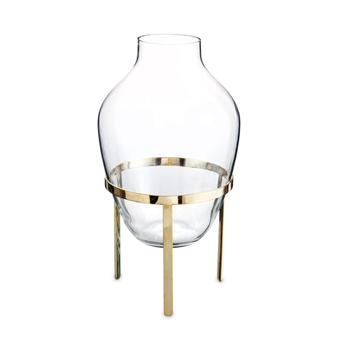 large glas vase with brass stand nordstjerne