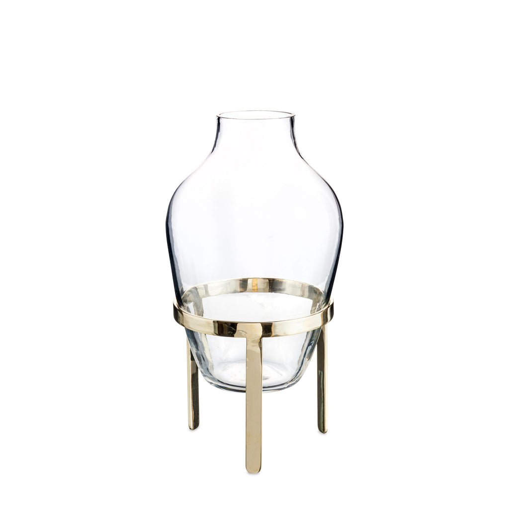 small glas vase with brass stand nordstjerne