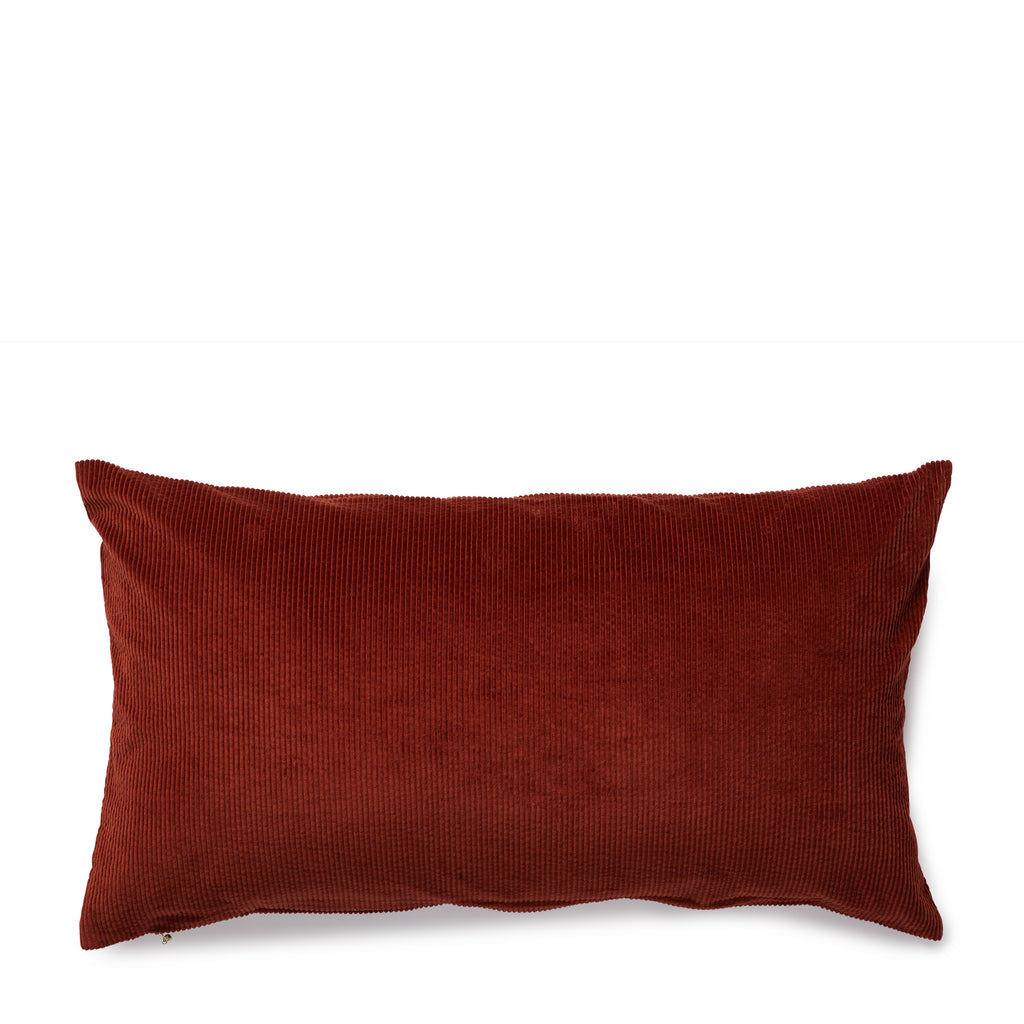corduroy cushion, rust