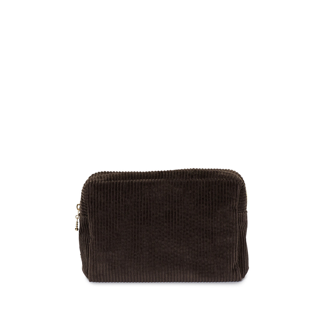 corduroy small pouch, chocolate