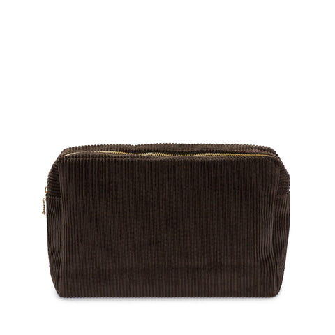 corduroy large pouch, chocolate