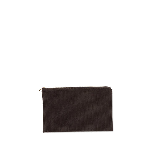 corduroy clutch, chocolate