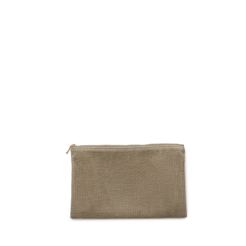 corduroy clutch, nude grey