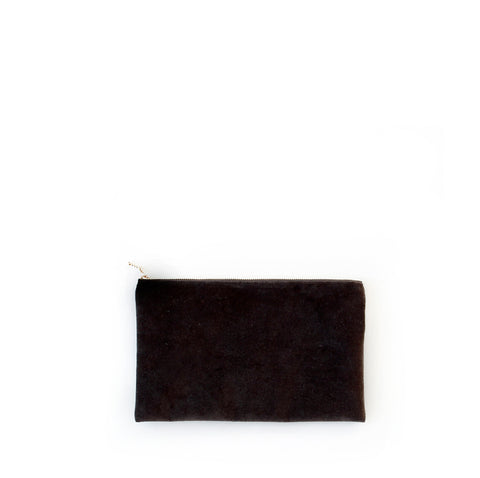 velvet clutch, chocolate