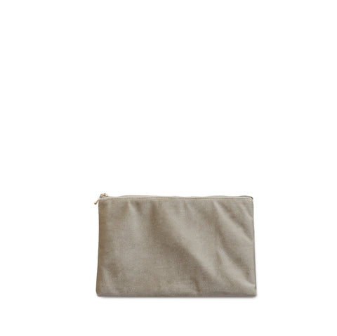 velvet clutch, nude grey