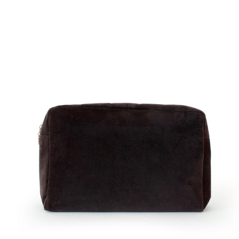 velvet large pouch, chocolate