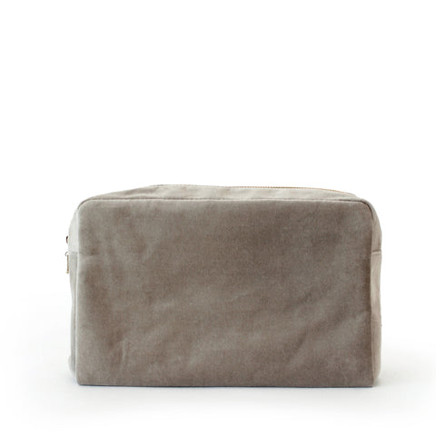 velvet large pouch, nude grey