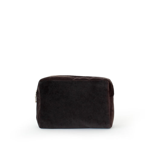 velvet small pouch, chocolate