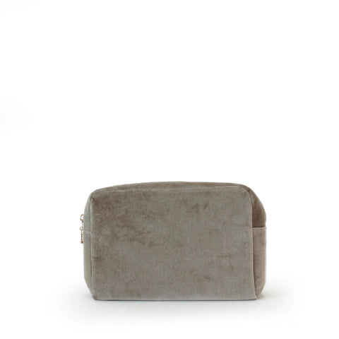 velvet small pouch, nude grey
