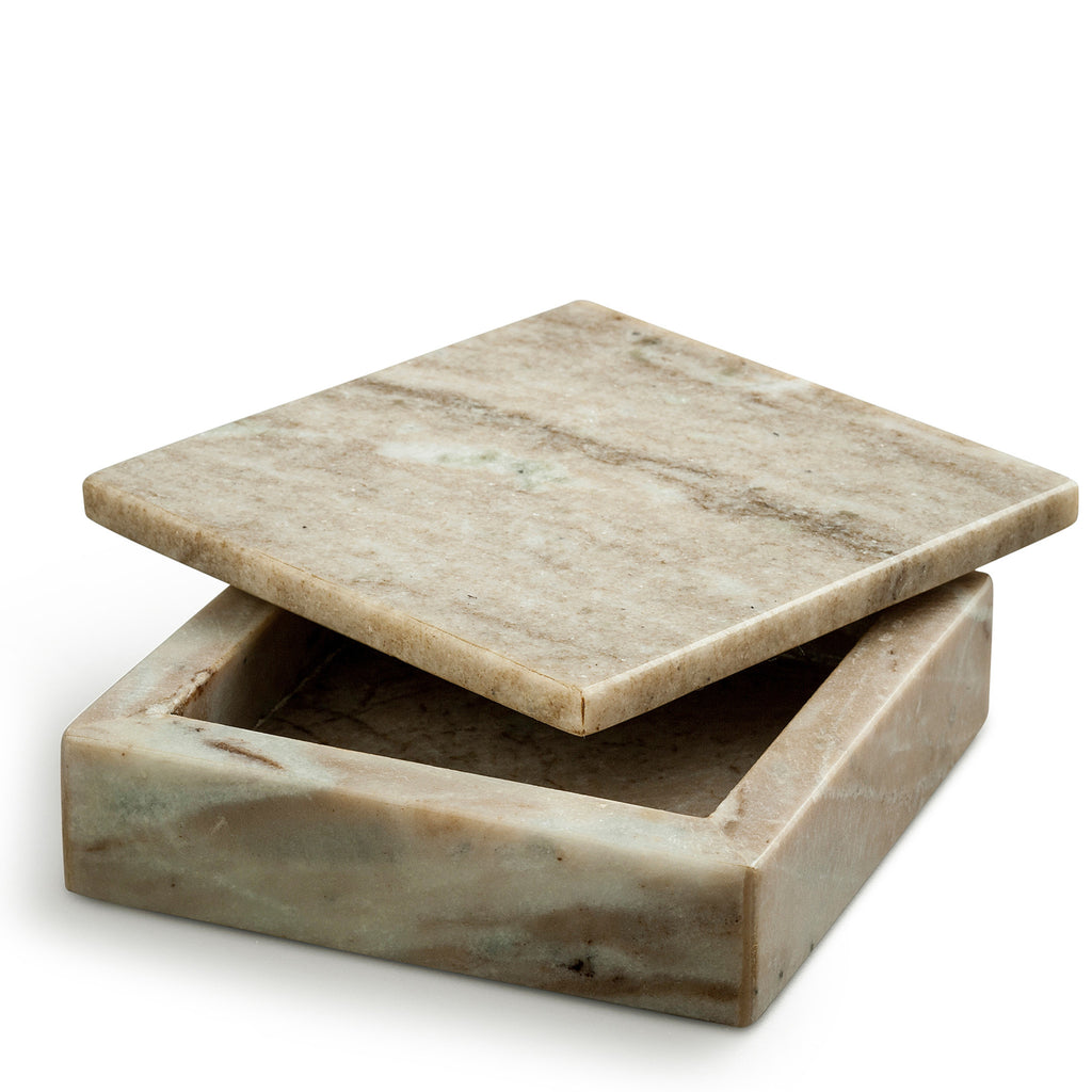 marmor skrin - small brown marble box tipped lid nordstjerne