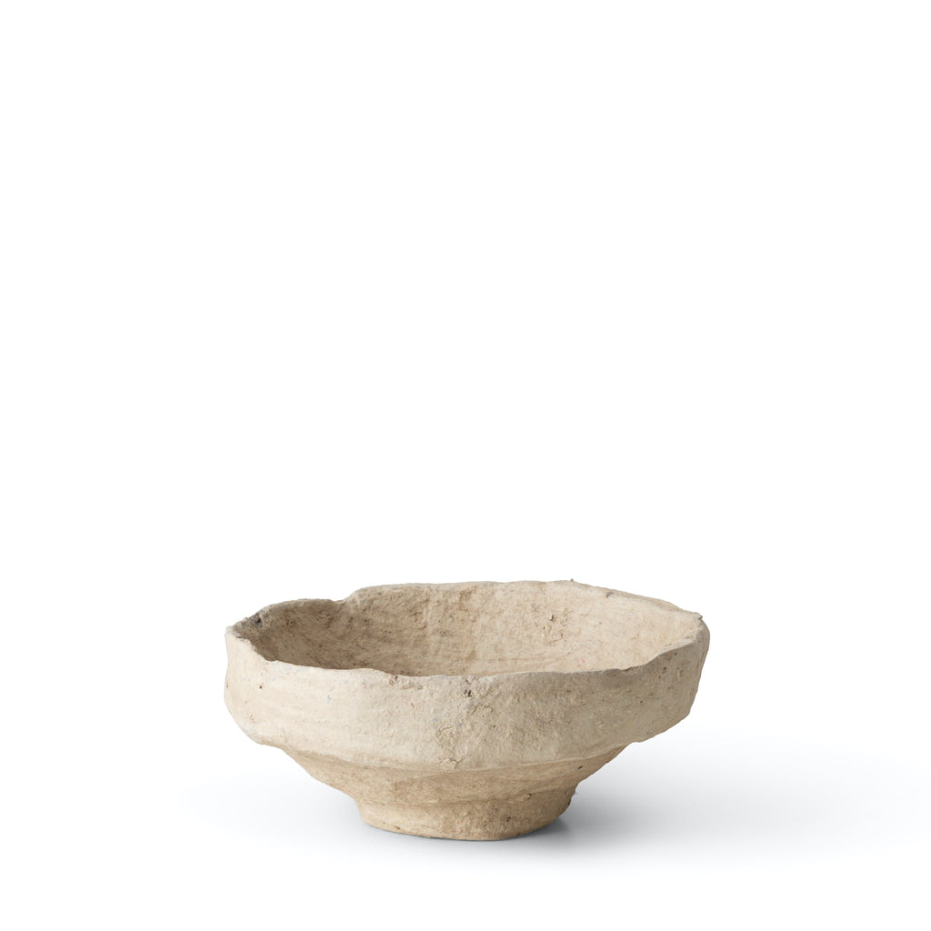 SUSTAIN sculptural papier mache bowl, sand