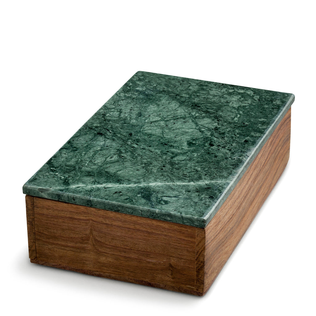 nordstjerne wooden box with green marble lid, medium