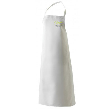 White Bib Apron - Embroidered with Colours Logo