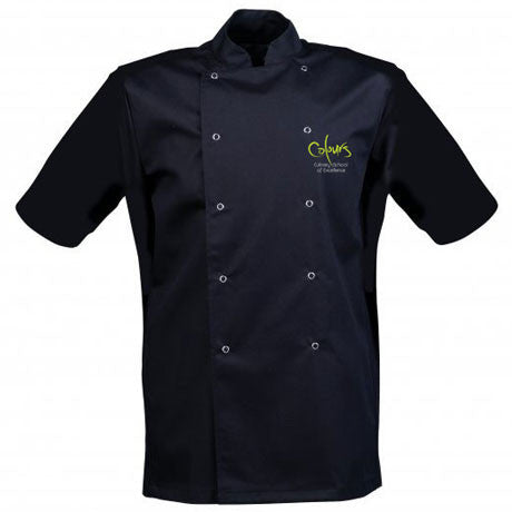 Black Chef's Jacket - Embroidered with Colours Logo