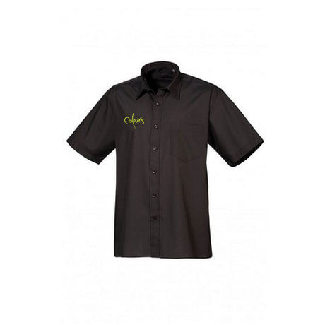 Formal Male black shirt featuring an embroidered Colours Restaurant logo