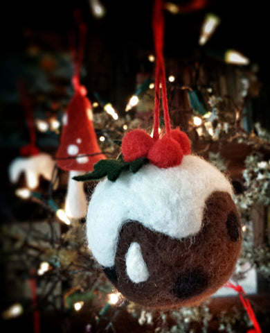Needle Felted Christmas Pudding Bauble Decoration