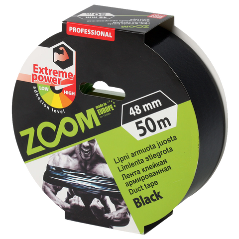 Professionelt Gaffa tape - ZOOM 48mm x 50m - Sort