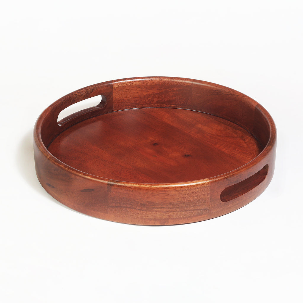 Rusticity Wood Serving Tray - Round, Serving Tray for Dining/Breakfast|Mango Wood|Handmade|(12x12x1.75 in)